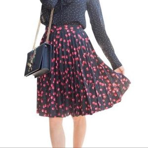 J. Crew cherry print pleated skirt size 10